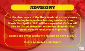 Holy Week Break